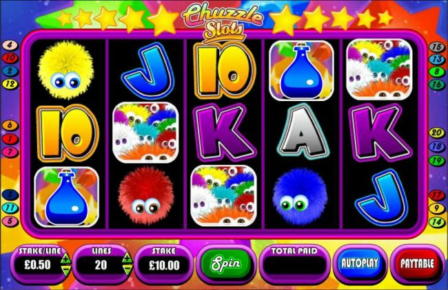 Three multi-colored chuzzle scatter symbols triggers the Chuzzle Reaction Bonus feature.