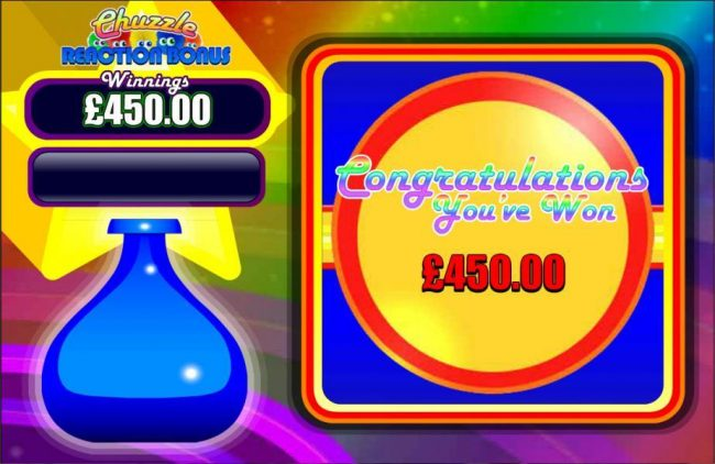 The Chuzzle Reaction Bonus pays out a total of 450.00 for awesome win.