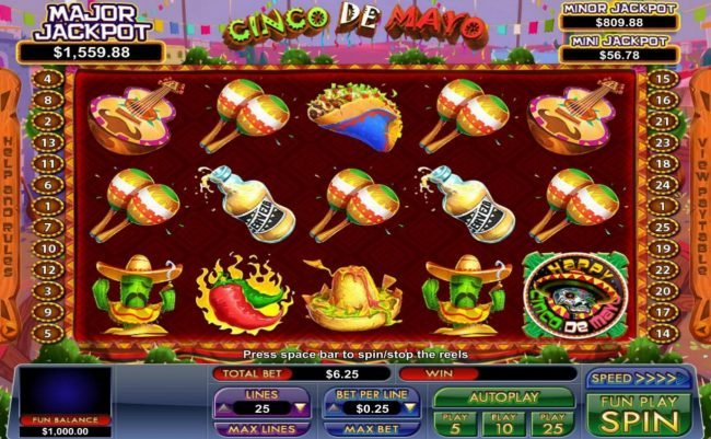 Play slots at Slot Madness: Slot Madness featuring the Video Slots Cinco de Mayo with a maximum payout of Jackpot