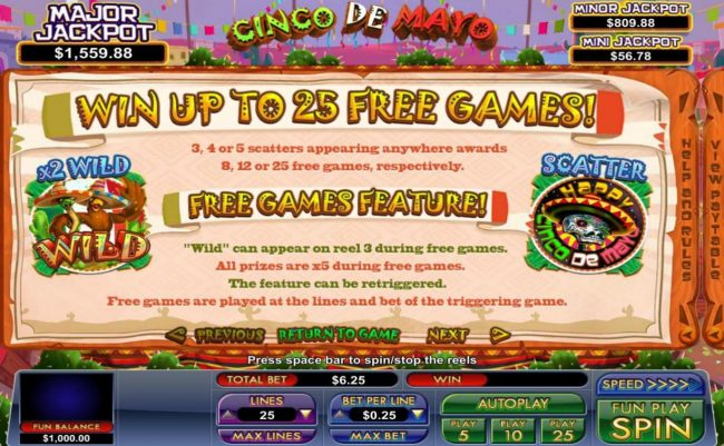 BuzzLuck featuring the Video Slots Cinco de Mayo with a maximum payout of Jackpot