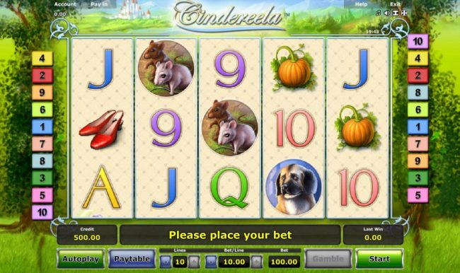 Cindereela :: Main game board featuring five reels and 10 paylines with a $100,000 max payout.