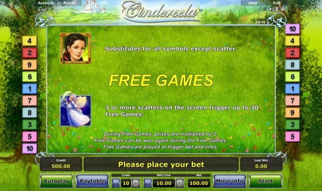 Winner Million featuring the Video Slots Cindereela with a maximum payout of $100,000