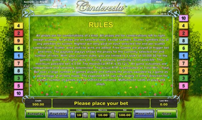 Cindereela :: General Game Rules - The theoretical average return to player (RTP) is 95.12%.