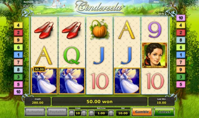 Cindereela :: Landing 3 or more scatters anywhere on the reels triggers the free games feature.
