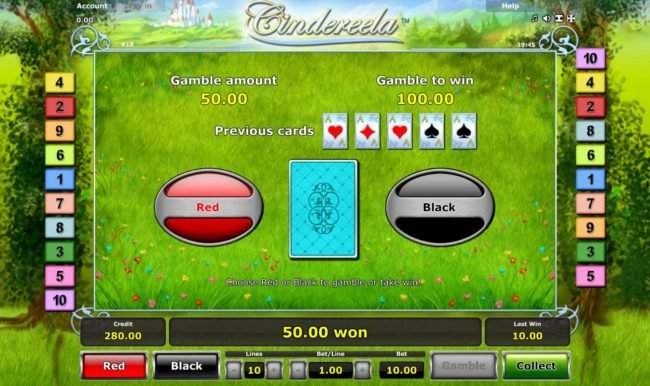 Cindereela :: Gamble Feature - To gamble any win press Gamble then select Red or Black.