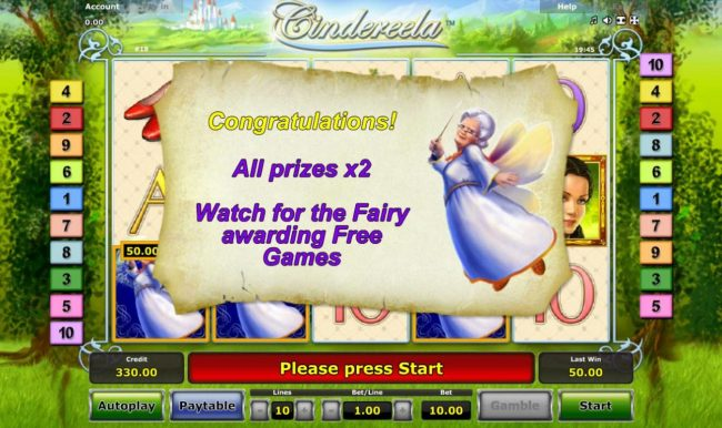 Cindereela :: All prizes are doubled during the Free Games feature.