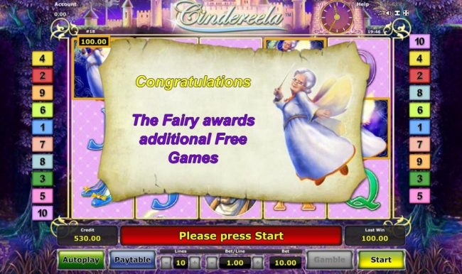 Cindereela :: Fairy God-Mother awards additional free games.