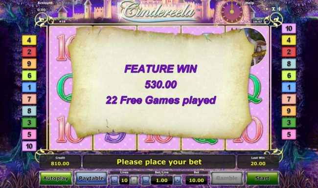 Cindereela :: Free Games feature pays out a total of 530.00 after completing 22 free spins.