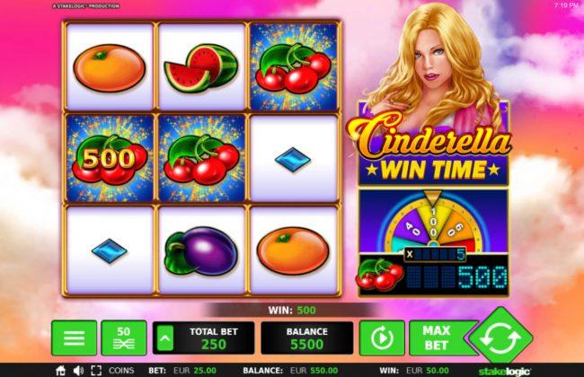 Cinderella Win Time :: Cherry symbols trigger a 500 coin win