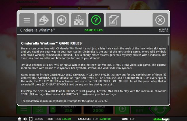 Cinderella Win Time :: General Game Rules