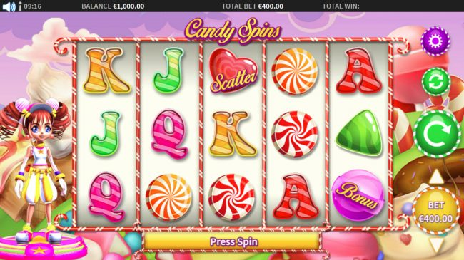 Amsterdam Casino featuring the Video Slots Cindy Spins with a maximum payout of $20,000