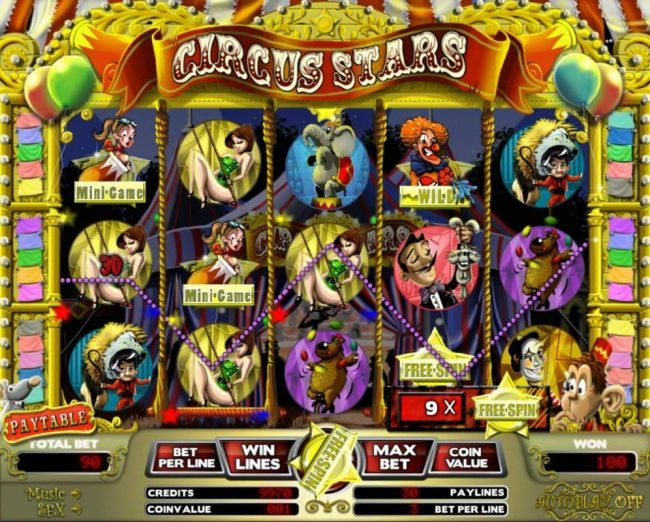 Elegant VIP featuring the Video Slots Circus Stars with a maximum payout of $12,000