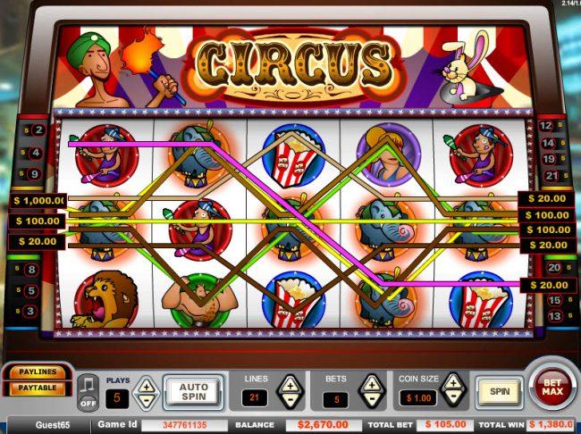 Circus :: Multiple winning paylines