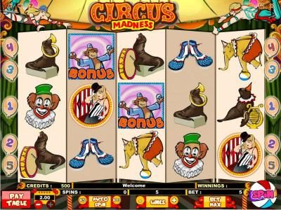 Play slots at Llama Casino: Llama Casino featuring the Video Slots Circus Madness with a maximum payout of $10,000