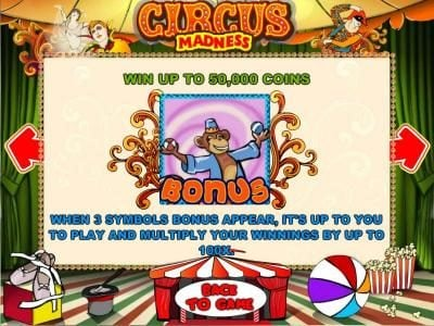 Viggoslots featuring the Video Slots Circus Madness with a maximum payout of $10,000