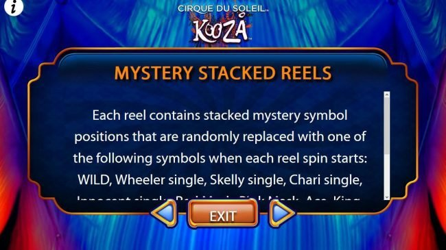 Each reel contains stacked mystery symbol positions that are randomly replaced with one of the following symbols when each reel spsin starts...