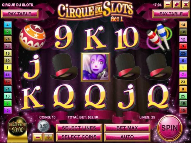 Vanguard featuring the Video Slots Cirque du Slots with a maximum payout of $4,500
