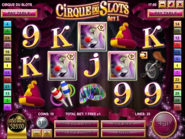 Supreme Play featuring the Video Slots Cirque du Slots with a maximum payout of $4,500