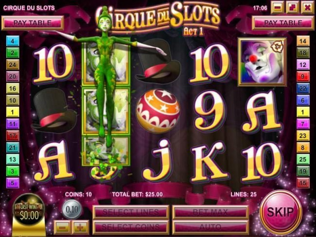 Eclipse featuring the Video Slots Cirque du Slots with a maximum payout of $4,500