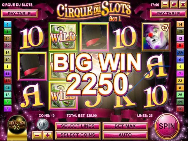 Crazy Luck featuring the Video Slots Cirque du Slots with a maximum payout of $4,500