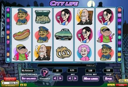 Mega Casino featuring the Video Slots City Life with a maximum payout of $15,000