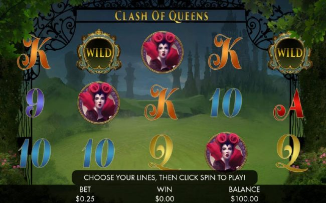 Casino Room featuring the Video Slots Clash of Queens with a maximum payout of $1,000,000