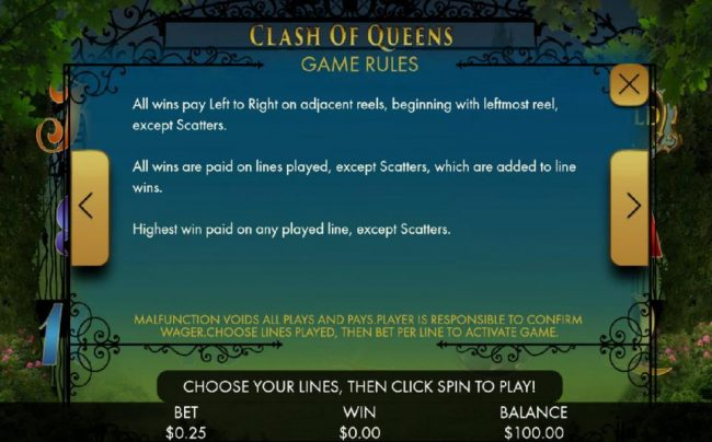 Euro Slots featuring the Video Slots Clash of Queens with a maximum payout of $1,000,000