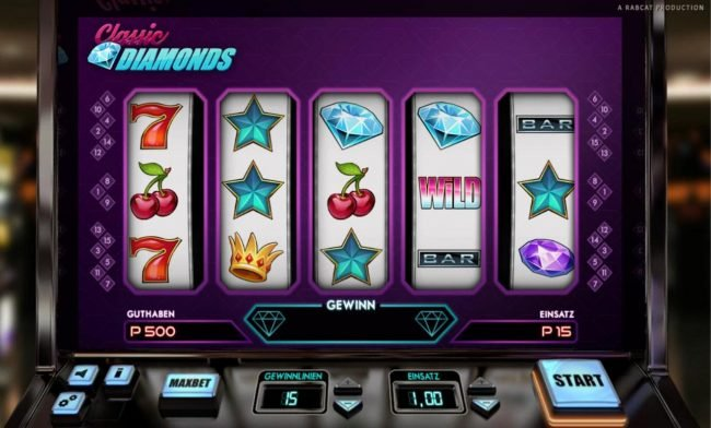 Jackpot City featuring the Video Slots Classic Diamonds with a maximum payout of $5,000