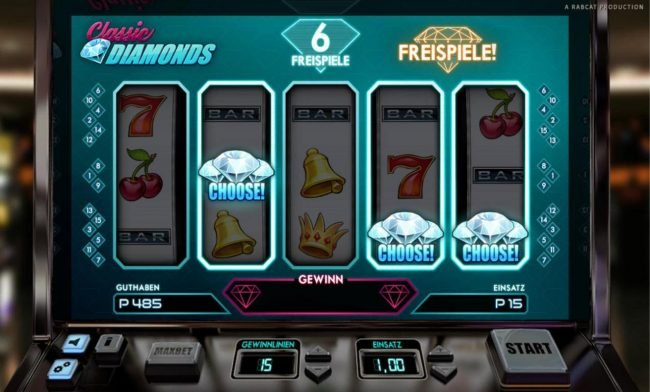 Jackpot Knights featuring the Video Slots Classic Diamonds with a maximum payout of $5,000