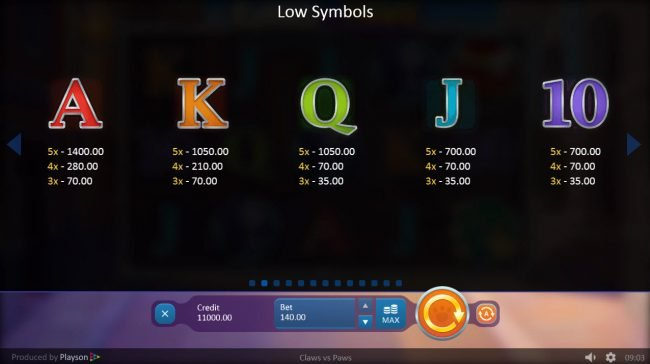 Spintropolis featuring the Video Slots Claws vs Paws with a maximum payout of $500,000