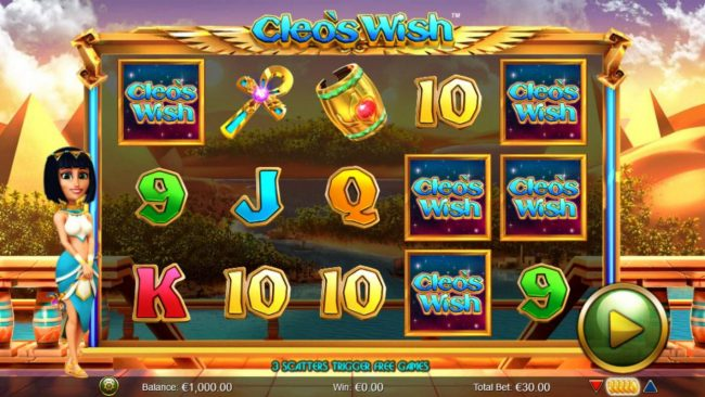 VIP Casino featuring the Video Slots Cleo's Wish with a maximum payout of $12,500