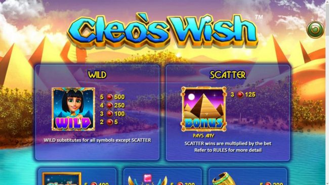 Boo Casino featuring the Video Slots Cleo's Wish with a maximum payout of $12,500