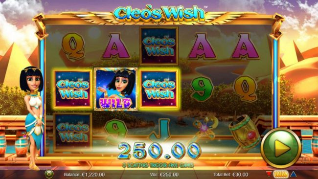 Enzo Casino featuring the Video Slots Cleo's Wish with a maximum payout of $12,500