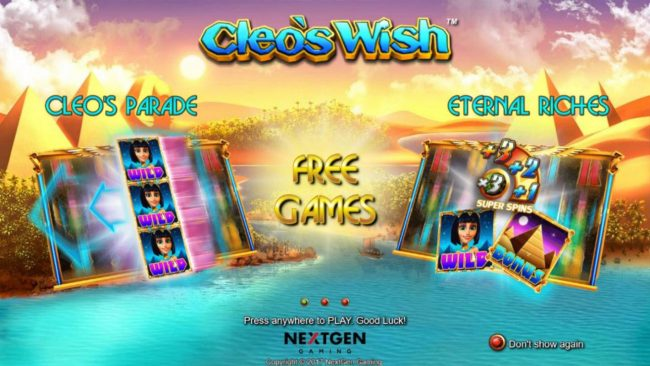 Jackpot Knights featuring the Video Slots Cleo's Wish with a maximum payout of $12,500