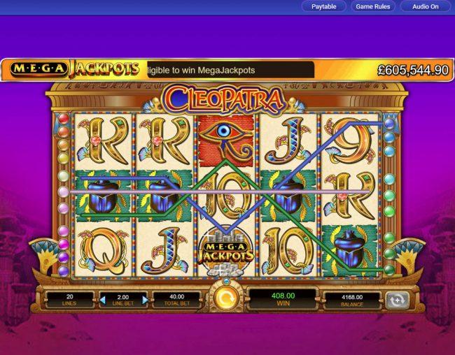 Cleopatra - Mega Jackpots :: Multiple winning paylines triggers a big win