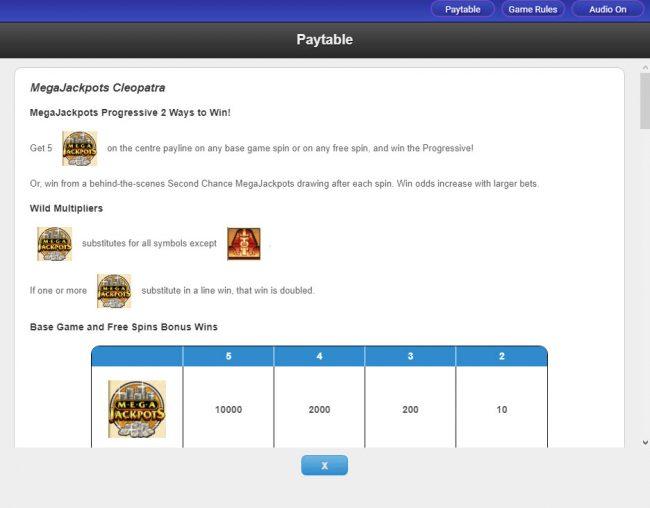 Cleopatra - Mega Jackpots :: Progressive Jackpot Rules