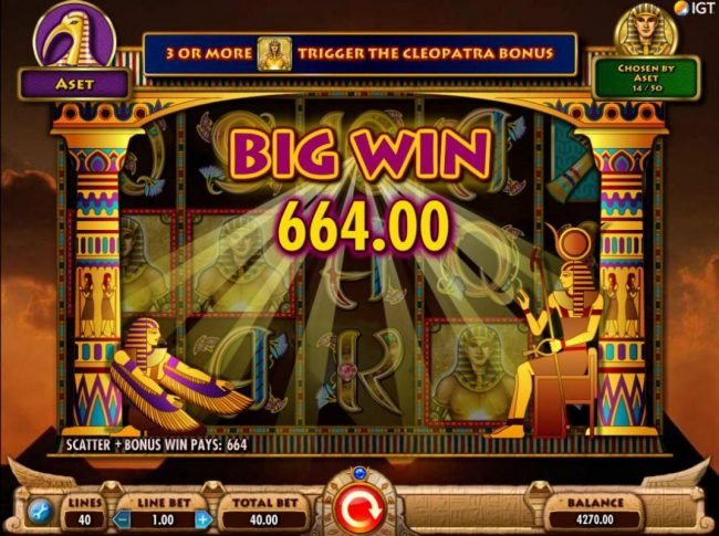 Vegas Baby featuring the Video Slots Cleopatra Plus with a maximum payout of $250,000