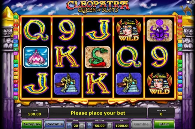 Company featuring the Video Slots Cleopatra Queen of Slots with a maximum payout of $500,000