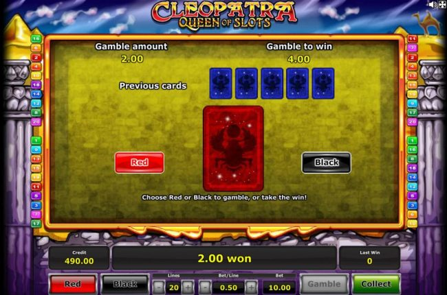 My Bet featuring the Video Slots Cleopatra Queen of Slots with a maximum payout of $500,000