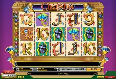 Cleopatra :: Main game board featuring five reels and 20 paylines with a $100,000 max payout