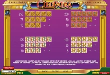 Cleopatra :: Low value game symbols paytable
