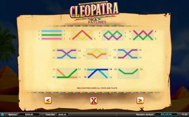 Gossip Slots featuring the Video Slots Cleopatra with a maximum payout of $9,000