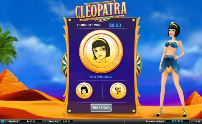 Play slots at Gossip Slots: Gossip Slots featuring the Video Slots Cleopatra with a maximum payout of $9,000