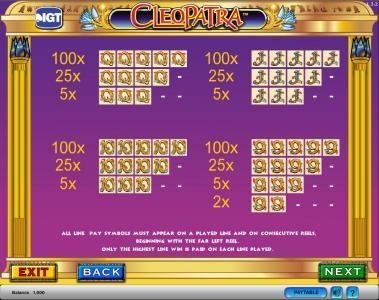 Cleopatra :: Cleopatra slot game payout table