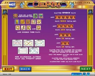 Cleopatra :: Cleopatra slot game  wilds and scatters paylines