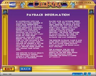 Cleopatra :: Cleopatra slot game  payback information