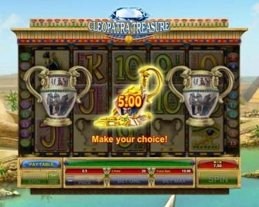 1BET featuring the Video Slots Cleopatra Treasure with a maximum payout of $15,000
