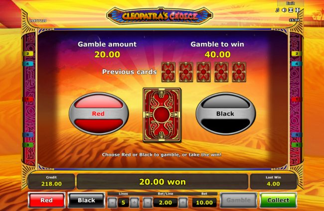 Play slots at Club Vulkan: Club Vulkan featuring the Video Slots Cleopatra's Choice with a maximum payout of $50,000