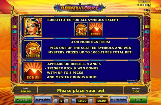 Cleopatra's Choice :: Wild and Scatter Symbol Rules