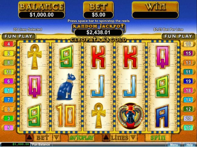 Slotsville featuring the video-Slots Cleopatra's Gold with a maximum payout of $250,000